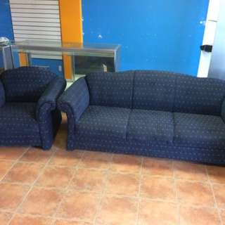 2 Piece Blue Couch Set