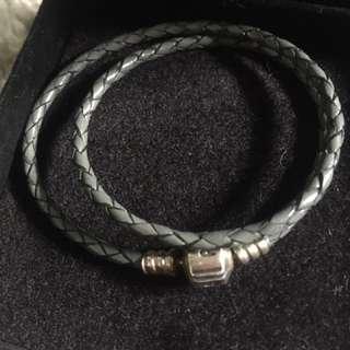 Double Gray Leather Pandora Bracelet