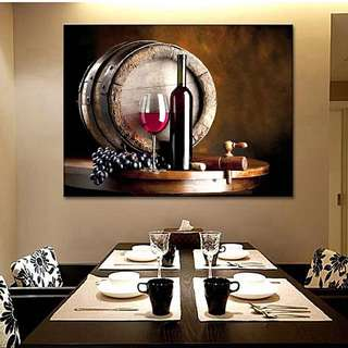 Wine and Fruit with Glass and Barrel Wall Art Canvas Print