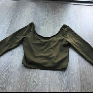 Mendocino Olive Green Crop Top