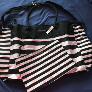 Victoria's Secret Duffle Bag And Makeup Bag (new With Tags)