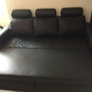 真皮沙發床 Leather sofa bed sofabed