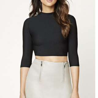 F21 Faux Leather Skirt With Front Zipper