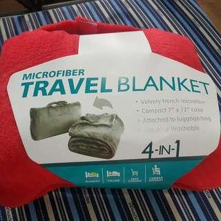 Red Microfiber 4-in-1 Travel Blanket