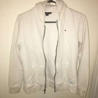 Tommy Hilfiger White zip-up hoodie