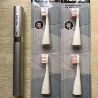 Panasonic 可攜式電動牙刷+刷頭四入(銀)