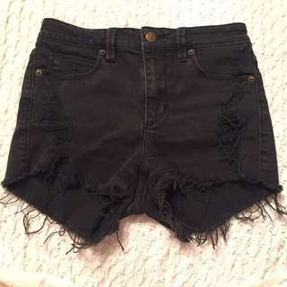 Black Guess High Waisted Jean Shorts Size 25