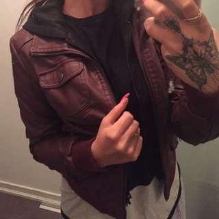 *leather* Burgundy Jacket