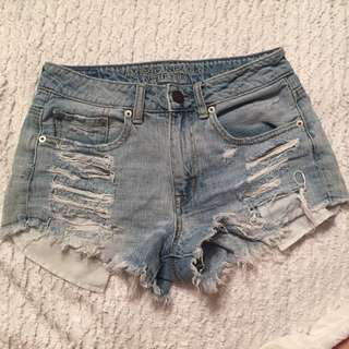 High Waisted American Eagle Distressed Shorts