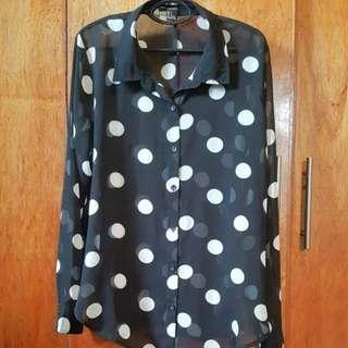 Sheer Polka Dot Long Sleeved Shirt