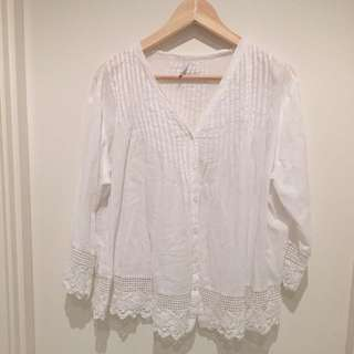 White Loose Fit Marfino Blouse