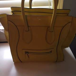 Authentic Yellow Medium Celine Handbag