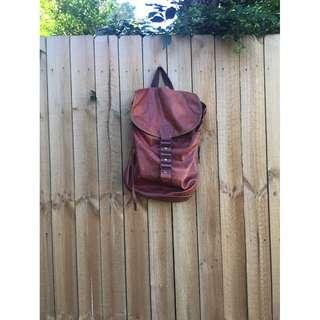 🌸Vintage Brown Genuine Leather Bucket Backpack