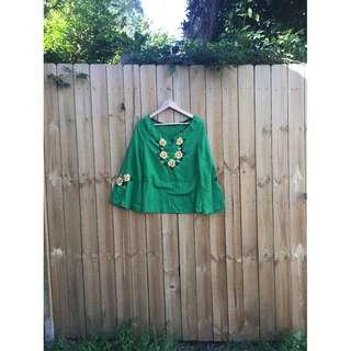🌸Vintage Green Floral Embroidered Top