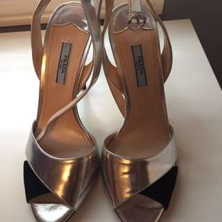 Authentic Sliver And Black Suede Prada Sandals- Size 9
