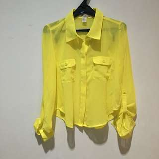Forever 21 Cropped Yellow Shirt Size S - NEW