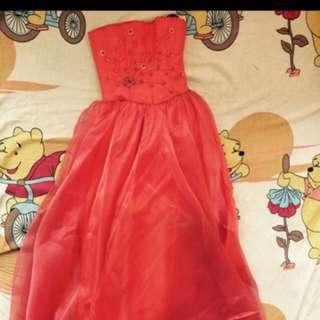 Tangerine Long back gown