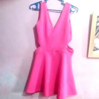 Sexy Pink Dress With Side Holes