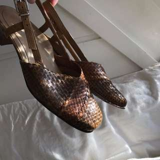 Vintage Leather Alligator Sling Backs