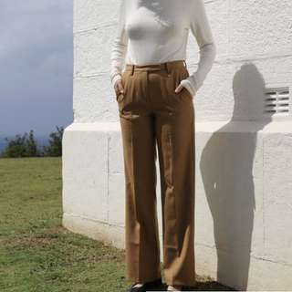 Camel Straight Leg Trousers