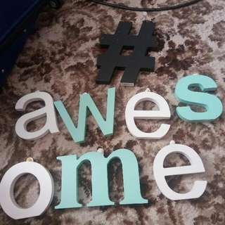 Wooden Typo Letters And Hash tag