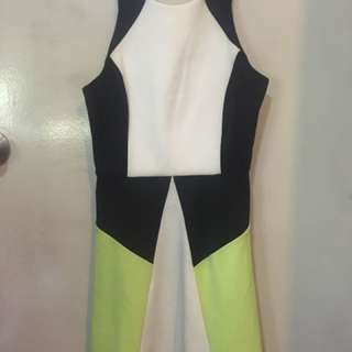 A-line White Black And Green Dress