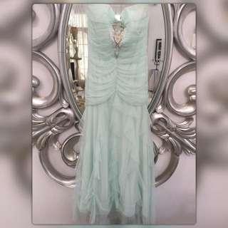 SALE! Jessica McClintock Party Long Dress Tile Layered Pastel Torquoise (Gaun Pesta Panjang Warna Toska Muda)