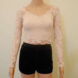 H&m Body Hugging Beige Lace Long Sleeves