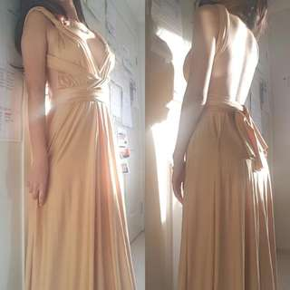 HIRE FORMAL CHAMPAGNE MULTI-WAY DRESS