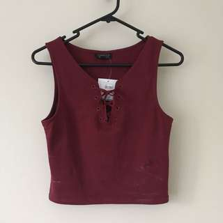 Burgundy Tie Up Crop