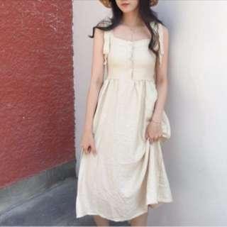 復古排釦肩帶綁帶素面造型洋裝 平口馬甲洋裝 韓國
