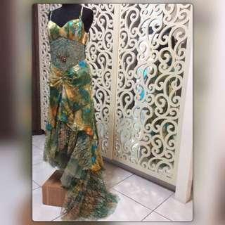 REPRICE!! Peacock Long Party Dress/ Gaun Pesta Panjang Hijau