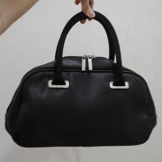 Black Lacoste Leather Hand Bag