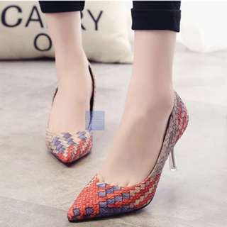 Woven Pointy Heels