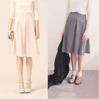 PAZZO黑格紋中長裙、傘裙(S)(含運)