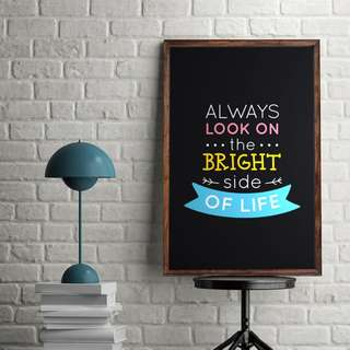 """""""Always look at the bright side of life"""" Fun Quote Black Background Colourful Font Digital Poster Download Typography Wall Art Printable Home Office Decor"""