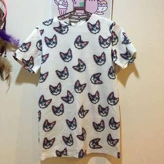 滿版 貓咪 長版上衣 洋裝