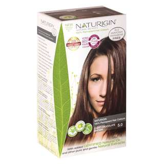 SAVE 21%!  NATURIGIN (5.0 LIGHT CHOCOLATE BROWN) 100% Permanent Organic Hair Colour