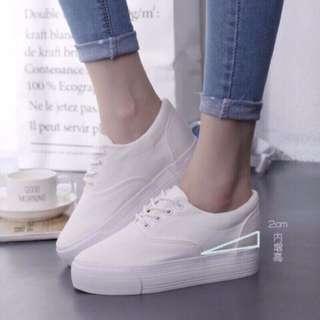 💫百搭好穿💫學院風厚底綁帶小白鞋厚底鞋帆布鞋