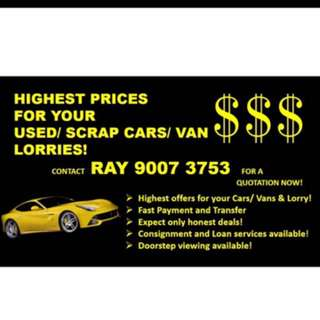 Highest Price For Your Cars/van/lorry