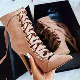 Pointed Tie Up Boots