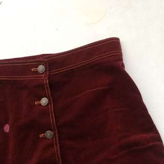 Maroon Button Down Skirt With Flaws