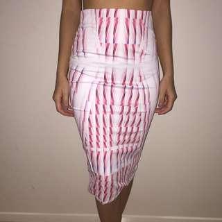 White Pink Pattern Midi Skirt