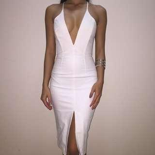 Midi Dress White Bardot Low Cut