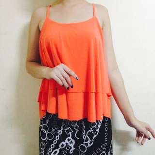 REPRICED! Neon Orange Sleeveless Top
