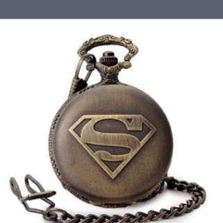BronzeSuperman Quartz Pocket Watch