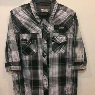 Black Plaid Polo (3/4 Sleeves)
