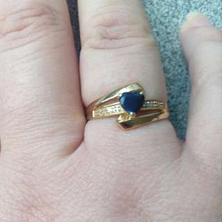 9ct Gold Diamond Blue Sapphire Ring