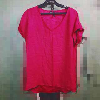 MANGO red Orange Silk Blouse