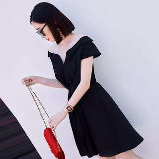 連衣裙女2017夏季新款韓版顯瘦V領短袖a字小黑裙吊帶裙